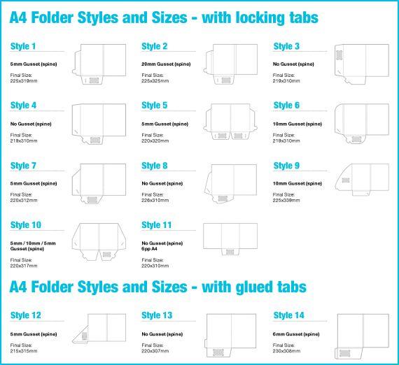 Presentation Folder Sizes