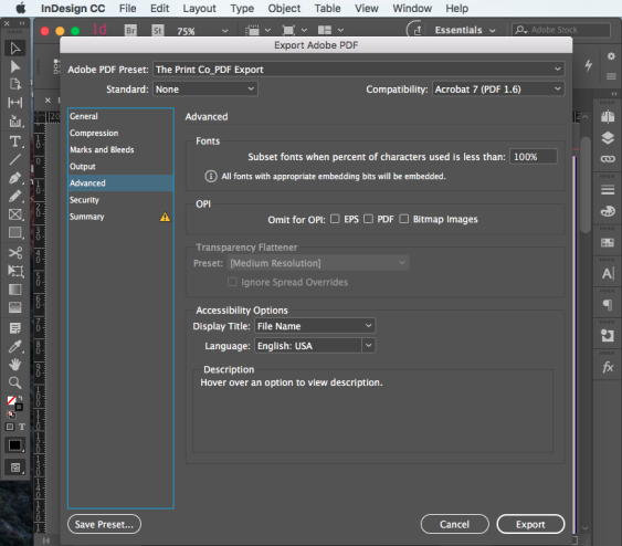 Export PDF for print step 12